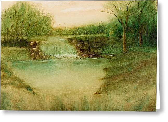 Quality Drawings Greeting Cards - Impressionistic Landscape - Diverting the Flow Greeting Card by Barry Jones