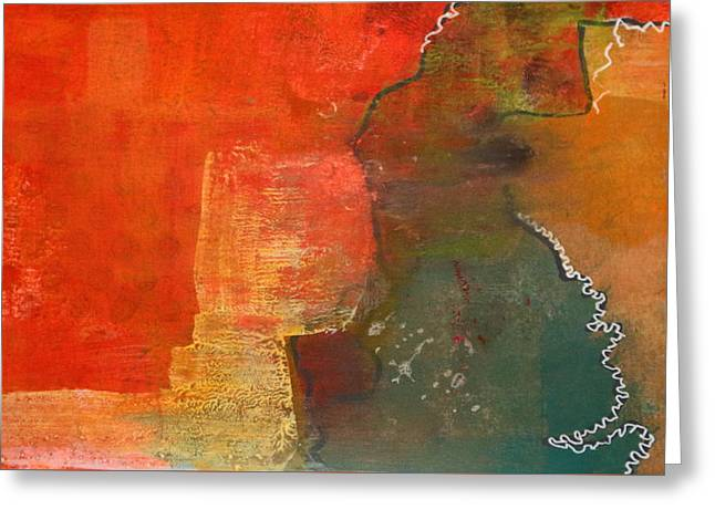 Reds Gold Greens White Blues Greeting Cards - Divide Greeting Card by Nancy Merkle