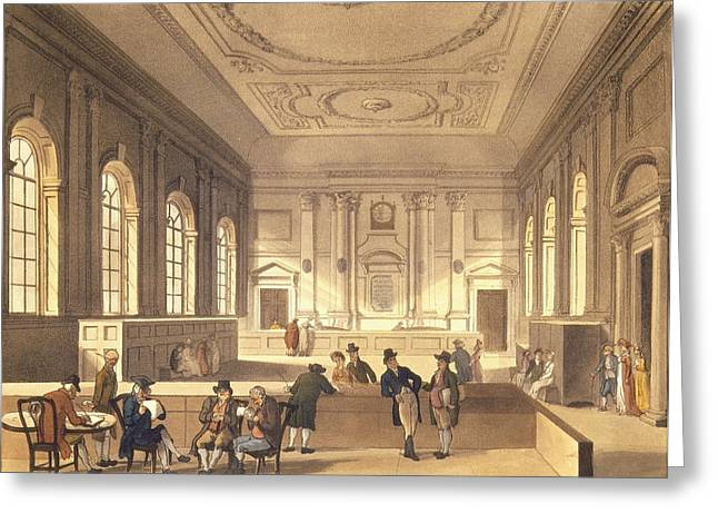 Broker Greeting Cards - Dividend Hall At South Sea House, Pub. By R. Ackermann, 1810 Aquatint Greeting Card by T. Rowlandson