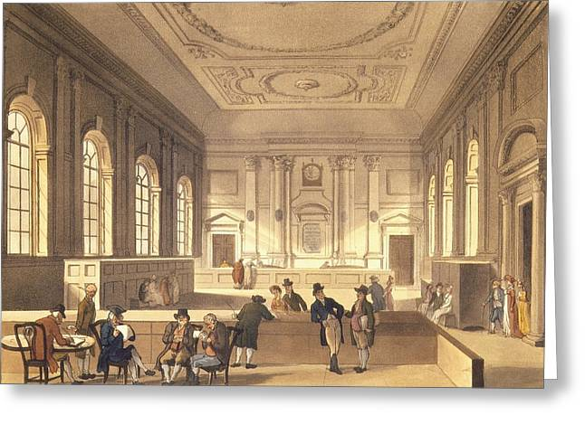 Dividend Hall At South Sea House Greeting Card by T Rowlandson