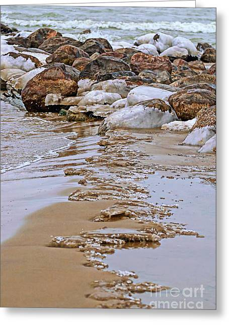 Ice And Warm Colors Greeting Cards - Dividing Line Greeting Card by Jocelyn Ball