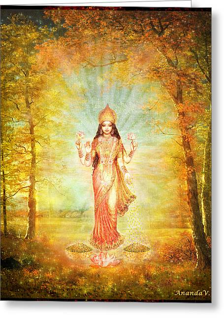 Hindu Goddess Greeting Cards - Lakshmi Vision in the Forest  Greeting Card by Ananda Vdovic