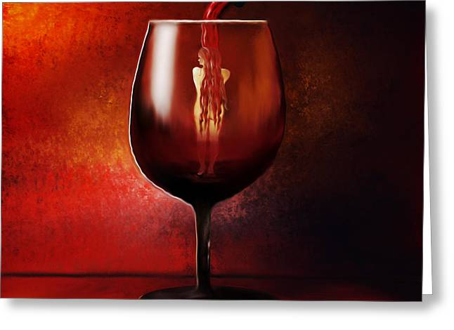 Pouring Wine Digital Art Greeting Cards - Divine Beauty Greeting Card by Sannel Larson