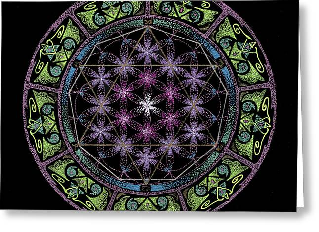 Portal Drawings Greeting Cards - Divine Feminine Energy Greeting Card by Keiko Katsuta