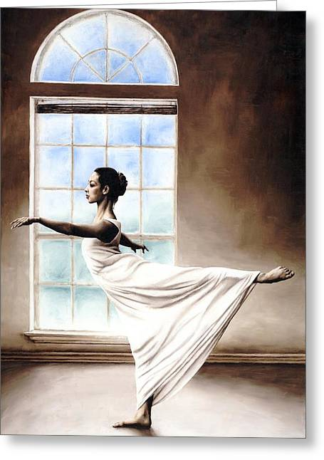 White Dress Paintings Greeting Cards - Divine Grace Greeting Card by Richard Young