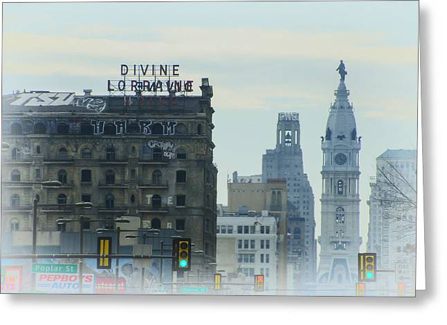 Cityhall Greeting Cards - Divine Lorraine and City Hall - Philadelphia Greeting Card by Bill Cannon