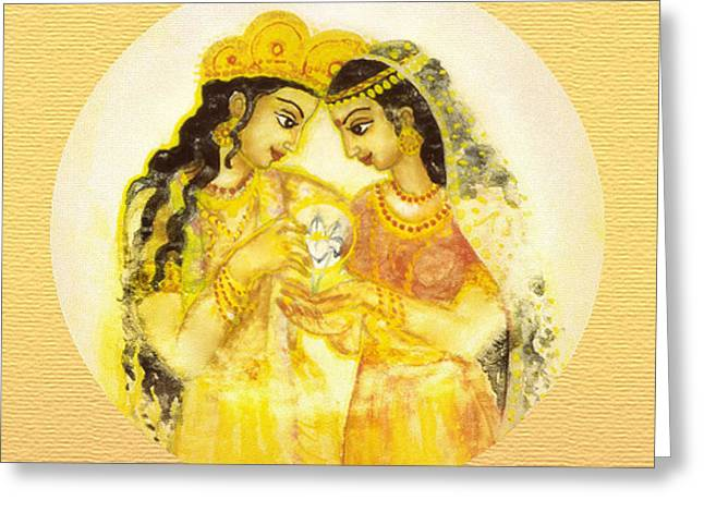 Religious Art Greeting Cards - Divine Love - Detail Greeting Card by Ananda Vdovic