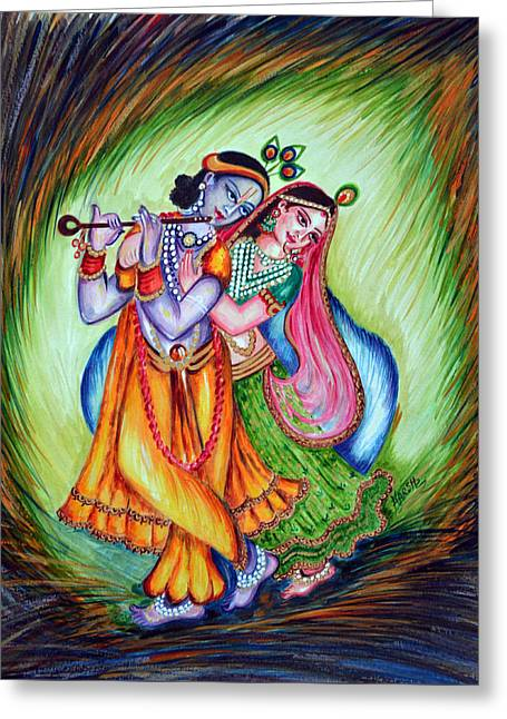 Hindu Goddess Greeting Cards - Divine Lovers Greeting Card by Harsh Malik
