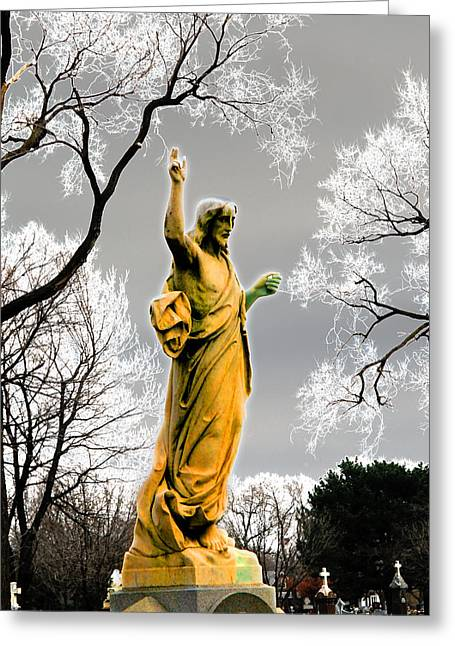 Souls Greeting Cards - Divine Mercy Florintine Crown Hill Cemetery Chicago Illinois Greeting Card by John Hanou