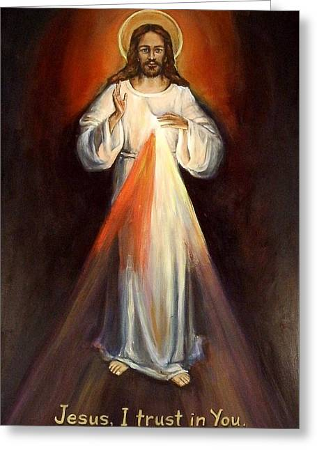 Kitchener Paintings Greeting Cards - Divine Mercy II Greeting Card by Sheila Diemert