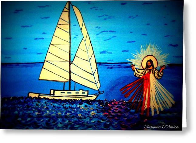 Jesus Walking On Water Greeting Cards - Divine Mercy Greeting Card by Maryann  DAmico