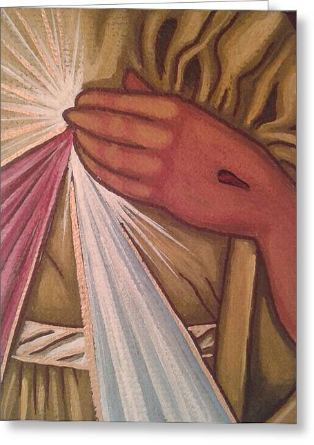 Byzantine Mixed Media Greeting Cards - Divine Mercy Greeting Card by Susan Howard
