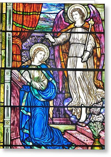 Stained Glass Greeting Cards - Divine Scene at St. Peters Episcopal Church - Lewes Delaware Greeting Card by Kim Bemis