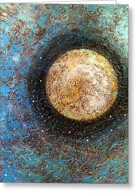 Celestial Paintings Greeting Cards - Divine Solitude Greeting Card by Sharon Cummings