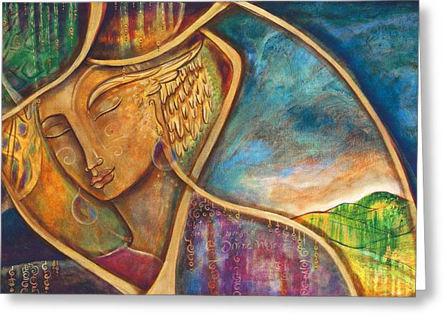 Images Of Woman Greeting Cards - Divine Wisdom Greeting Card by Shiloh Sophia McCloud