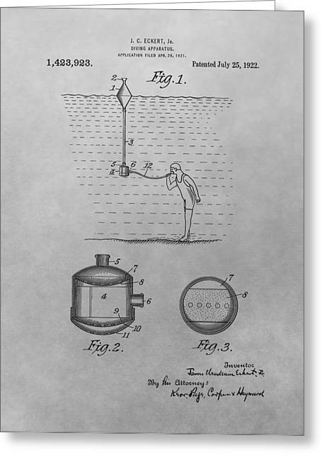 Diving Drawings Greeting Cards - Diving Apparatus Patent Drawing Greeting Card by Dan Sproul