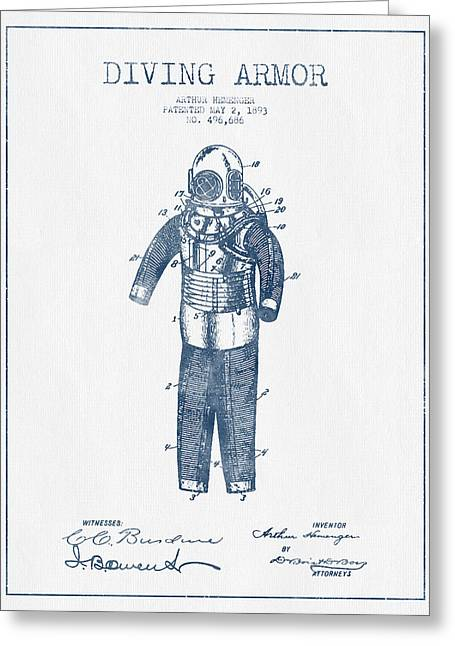 Water Sports Art Greeting Cards - Diving Armor Patent Drawing from 1893  -  Blue Ink Greeting Card by Aged Pixel