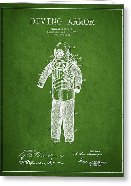 Diving Suit Greeting Cards - Diving Armor Patent Drawing from 1893 - Green Greeting Card by Aged Pixel