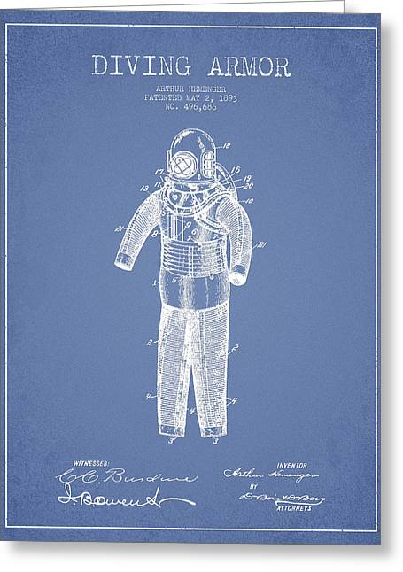 Diving Greeting Cards - Diving Armor Patent Drawing from 1893 - Light Blue Greeting Card by Aged Pixel
