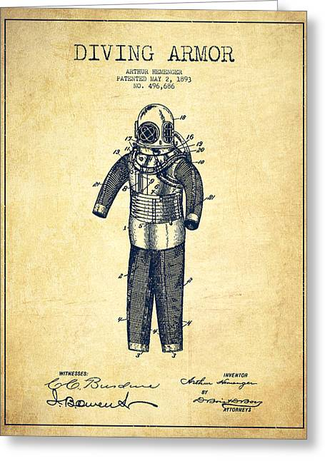 Diving Greeting Cards - Diving Armor Patent Drawing from 1893 - Vintage Greeting Card by Aged Pixel