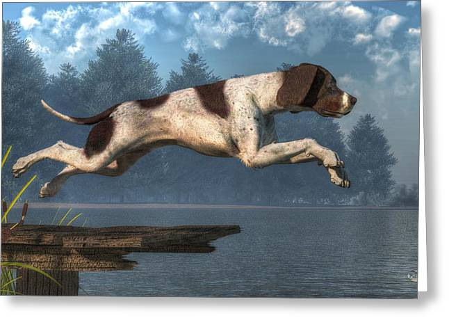 Diving Dog Greeting Cards - Diving Dog Greeting Card by Daniel Eskridge