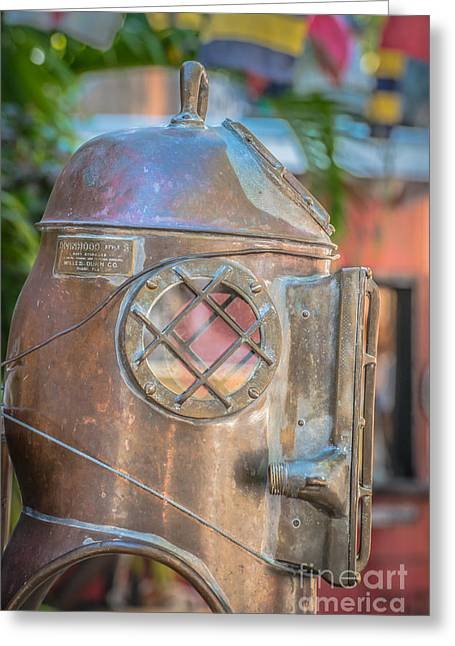 Diving Greeting Cards - Diving Helmet Key West - HDR Style Greeting Card by Ian Monk