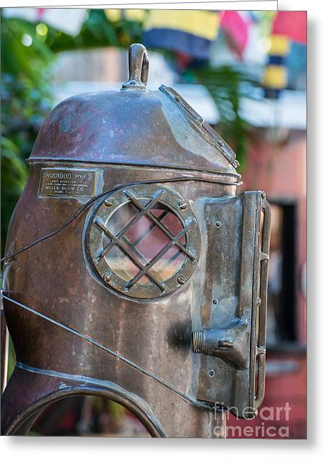 Diving Greeting Cards - Diving Helmet Key West Greeting Card by Ian Monk