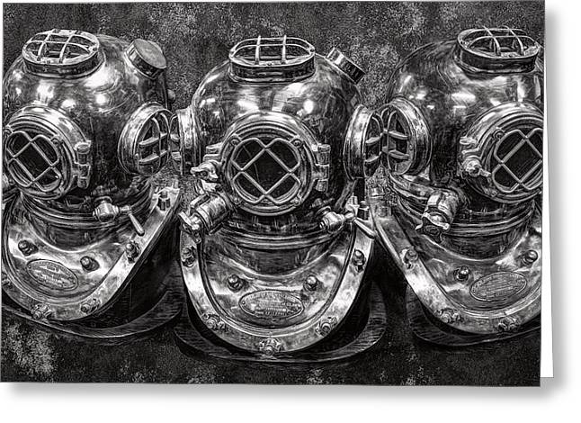 Diving Greeting Cards - Diving Helmets B W Greeting Card by Daniel Hagerman