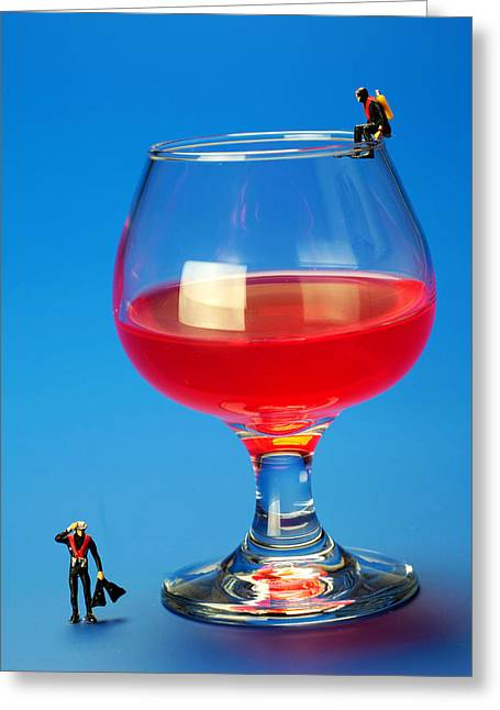 Big Wine Greeting Cards - Diving in red wine Little people big worlds Greeting Card by Paul Ge
