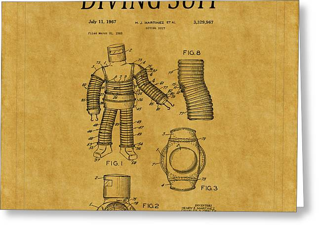 Diving Greeting Cards - Diving Suit Patent 1 Greeting Card by Andrew Fare