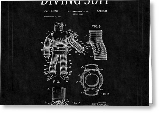 Diving Greeting Cards - Diving Suit Patent 2 Greeting Card by Andrew Fare