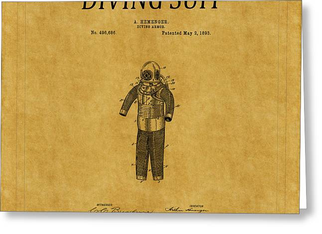 Diving Greeting Cards - Diving Suit Patent 3 Greeting Card by Andrew Fare