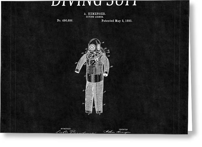 Diving Greeting Cards - Diving Suit Patent 4 Greeting Card by Andrew Fare