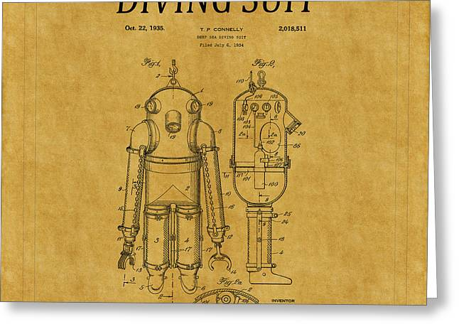Diving Greeting Cards - Diving Suit Patent 5 Greeting Card by Andrew Fare