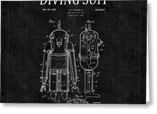 Diving Greeting Cards - Diving Suit Patent 6 Greeting Card by Andrew Fare