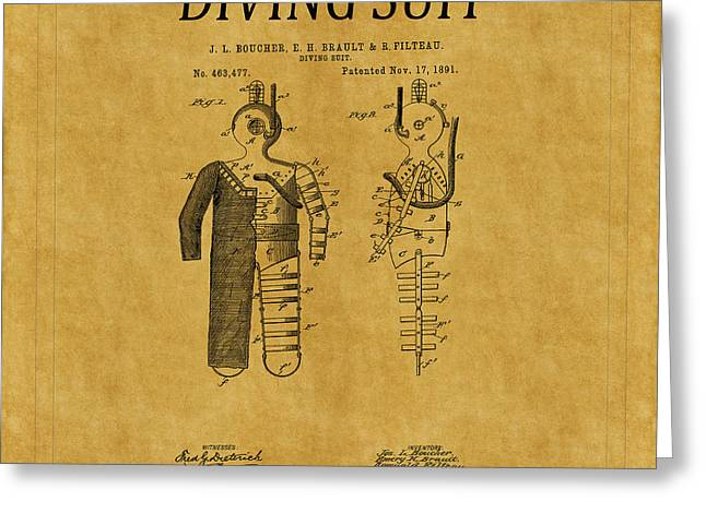Diving Greeting Cards - Diving Suit Patent 7 Greeting Card by Andrew Fare