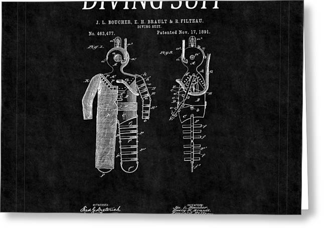 Diving Greeting Cards - Diving Suit Patent 8 Greeting Card by Andrew Fare