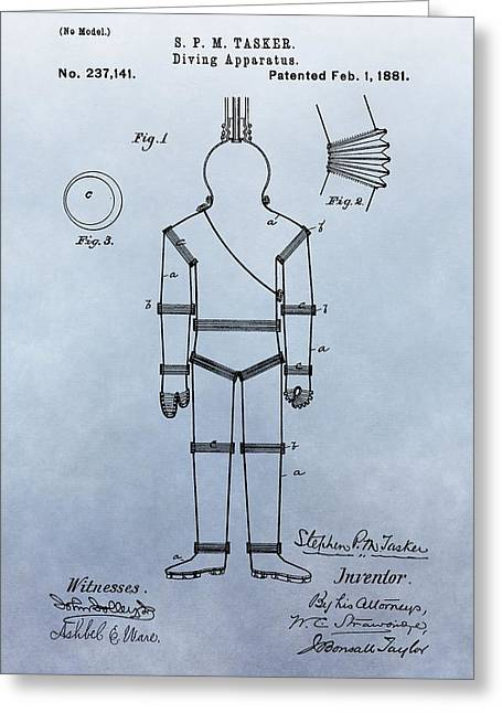 Diving Greeting Cards - Diving Suit Patent Greeting Card by Dan Sproul