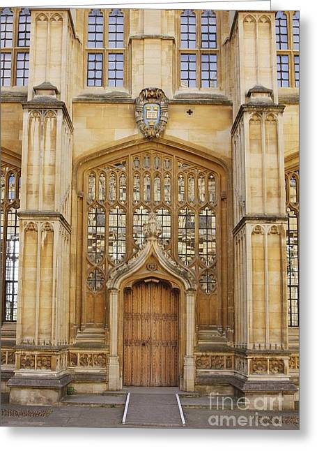 Entrance Door Greeting Cards - Divinity School, University Of Oxford Greeting Card by Tony Craddock