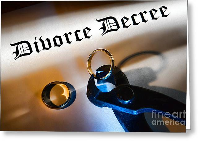 Recently Sold -  - Divorce Greeting Cards - Divorce Decree Greeting Card by Olivier Le Queinec