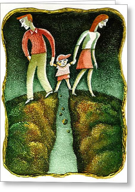 Man And Woman Greeting Cards - Divorce Greeting Card by Leon Zernitsky
