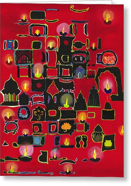 Oil Lamp Greeting Cards - Diwali Diyas Greeting Card by Alika Kumar