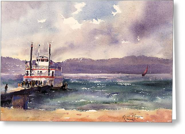 Print; Paddle Steamer Greeting Cards - Dixie Zephyr Cove South Lake Tahoe Greeting Card by Keith W Thompson