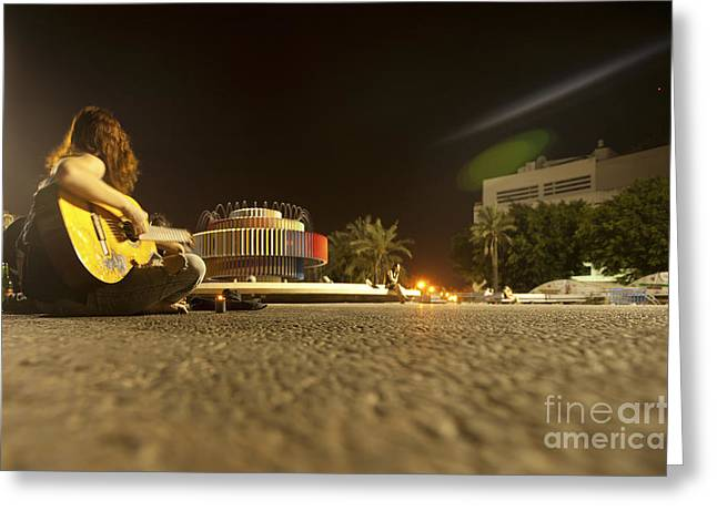 Tels Greeting Cards - Dizengoff circle at night Greeting Card by Alon Meir