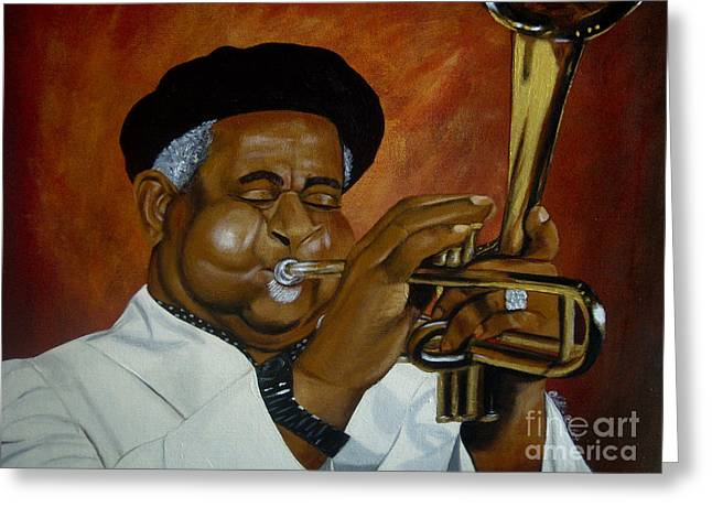 African American History Paintings Greeting Cards - Dizzie Gillespie in Color Greeting Card by Chelle Brantley
