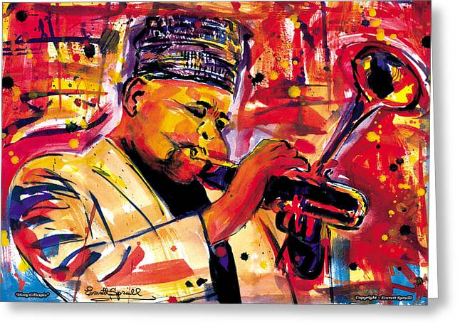 Roach Mixed Media Greeting Cards - Dizzy Gillespie Greeting Card by Everett Spruill