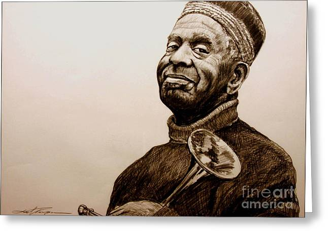 Famous African Americans Drawings Greeting Cards - Dizzy Greeting Card by Joel Thompson