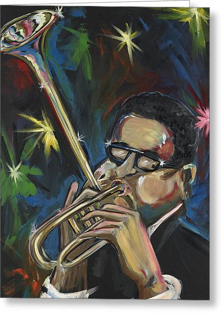 Afrocentric Art Greeting Cards - Dizzy Greeting Card by Lawrence Childress