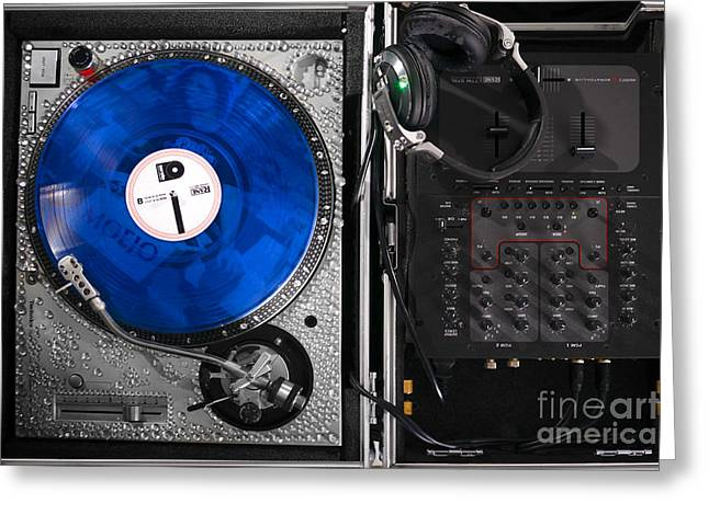 Dazzling Blue Greeting Cards - DJ Blue Vinyl Mixing Board Greeting Card by Jt PhotoDesign