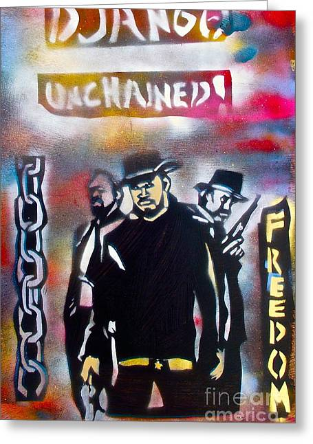 Slavery Paintings Greeting Cards - DJANGO Freedom Greeting Card by Tony B Conscious